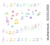 Set Of Colorful Music Notes In...