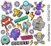 robots and machines stickers ... | Shutterstock .eps vector #521016733