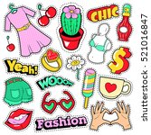 fashion girls badges  patches ... | Shutterstock .eps vector #521016847