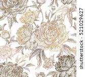 vintage flowers peonies ... | Shutterstock .eps vector #521029627