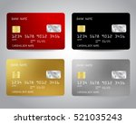 Realistic detailed credit cards set with colorful abstract design background. Vector illustration EPS10 | Shutterstock vector #521035243