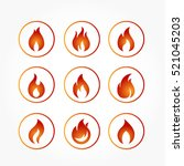 set of flaming fire icon in a... | Shutterstock .eps vector #521045203