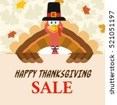 pilgrim turkey bird cartoon... | Shutterstock .eps vector #521051197