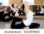 girls doing yoga exercises in... | Shutterstock . vector #521059843