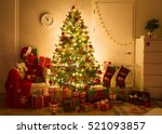 festively decorated home... | Shutterstock . vector #521093857