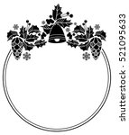 silhouette round frame with... | Shutterstock .eps vector #521095633