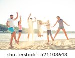 outing near waterfront   joyful ... | Shutterstock . vector #521103643