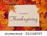 happy thanksgiving message ... | Shutterstock . vector #521108707