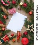 christmas wooden background...   Shutterstock . vector #521119627