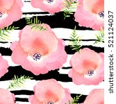 illustration of floral seamless.... | Shutterstock . vector #521124037