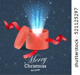 christmas gift. magical light... | Shutterstock .eps vector #521125297