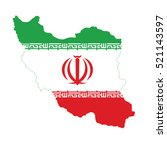 flag of iran in map | Shutterstock .eps vector #521143597