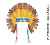 indian headdress with feathers... | Shutterstock .eps vector #521155273