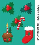 a set of christmas and new year ... | Shutterstock .eps vector #521162323