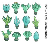 Stock vector cute cartoon cacti and succulents set funny cat plant in the pot 521174923