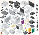 isometric office equipments and ... | Shutterstock . vector #521187943