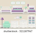 set white bedroom furniture in... | Shutterstock .eps vector #521187967