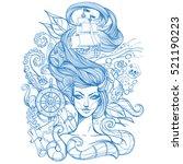 girl with long hair outline...   Shutterstock .eps vector #521190223