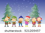happy kids singing christmas... | Shutterstock . vector #521205457