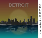detroit michigan city skyline... | Shutterstock .eps vector #521209453