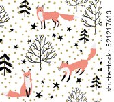 pink foxes in the woodland ... | Shutterstock .eps vector #521217613