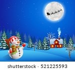baground christmas with snowman | Shutterstock . vector #521225593