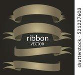 ribbon vector icon set on black ... | Shutterstock .eps vector #521227603