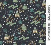 stylish winter seamless pattern ... | Shutterstock .eps vector #521230597