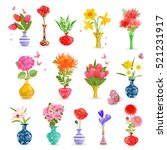 colorful collection art vases... | Shutterstock .eps vector #521231917