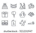 birthday cake icon outlined... | Shutterstock .eps vector #521231947