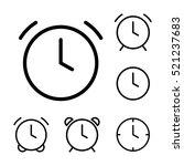 thin line clock  alarm icons on ...