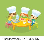 children cooking cookies | Shutterstock .eps vector #521309437