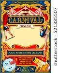 circus juggler show retro... | Shutterstock . vector #521335507