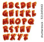comic alphabet font set ... | Shutterstock .eps vector #521345443