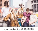 group of  friends laughing out... | Shutterstock . vector #521353207