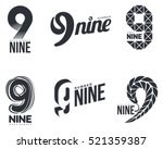 set of black and white number... | Shutterstock .eps vector #521359387