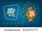 funny reindeer  laughs and... | Shutterstock .eps vector #521371777