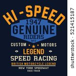 motorcycle racing typography  t ... | Shutterstock .eps vector #521415187