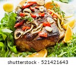 roasted pork ribs with herbs... | Shutterstock . vector #521421643