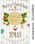 christmas and new year card.  | Shutterstock .eps vector #521434843