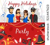 photo booth party horizontal... | Shutterstock .eps vector #521447623
