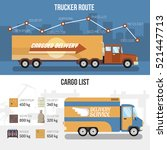 flat horizontal delivery trucks ... | Shutterstock .eps vector #521447713
