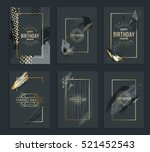 Vector frame for text Modern Art graphics for hipsters . dynamic frame stylish geometric black background with gold. element for design business cards, invitations, gift cards, flyers and brochures. | Shutterstock vector #521452543