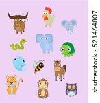 cute simple animal set ... | Shutterstock .eps vector #521464807
