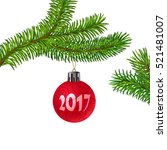 realistic green christmas tree... | Shutterstock .eps vector #521481007