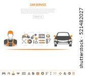 car service concept with flat... | Shutterstock .eps vector #521482027
