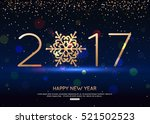 happy new year  2017 blue... | Shutterstock .eps vector #521502523