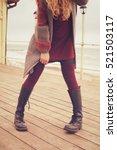 slim female legs dressed in... | Shutterstock . vector #521503117