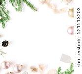 christmas composition. frame... | Shutterstock . vector #521513203