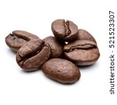 roasted coffee beans isolated... | Shutterstock . vector #521523307